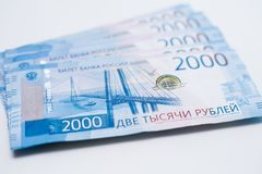 Background Of Paper Russian Money. Russian Banknotes Of 2000 Two Thousands Rubles stock photography