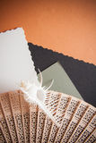 Background of papers and brushes Stock Image