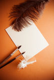 Background of papers and brushes Royalty Free Stock Photography