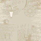 Background of the papyrus with occult symbols Royalty Free Stock Images