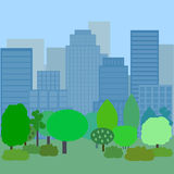 Background, park in the foreground,. In the background the city royalty free illustration