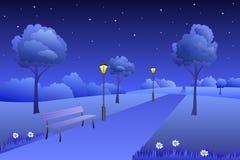 Background park summer landscape night illustration Royalty Free Stock Images