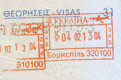 Background of passport stamps closeup Stock Photography