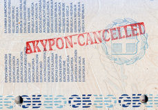 Background of passport stamps closeup Stock Photo