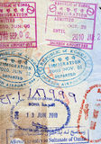 Background of passport stamps closeup Royalty Free Stock Images