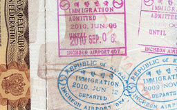 Background of passport stamps closeup Royalty Free Stock Image