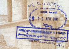 Background of passport stamps closeup Stock Image