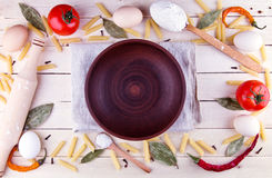 Background with pasta ingredients Royalty Free Stock Images