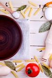 Background with pasta ingredients Stock Image