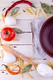 Background with pasta ingredients Stock Photography