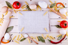 Background with pasta ingredients Stock Images