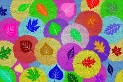 Background: Pastel Circles, Each With A Leaf Stock Photo