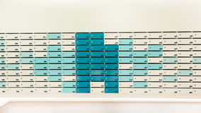 Background of pastel Color mail box. Or locker in modern building Royalty Free Stock Photo