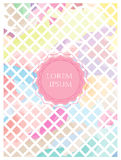 "Background of pastel colored squares. On oblique axis  with a central pink circular area bearing text ""lorem ipsum"" in uppercase white letters, indicating the Stock Images"