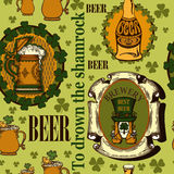 Background for Patrick's Day. Seamless background contains images of beer mug,beer bottle,beer jar,emblem of brewery with leprechaun and shamrock on green Stock Images