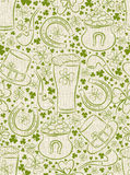 background for Patricks day with ber mug, horseshoe, hat Royalty Free Stock Photo