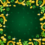 Background for Patricks Day with clover and golden coins Royalty Free Stock Images