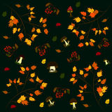 Background pattern autumn mushrooms foliage rowan Royalty Free Stock Photos