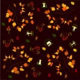 Background pattern autumn mushrooms foliage rowan.  vector illustration