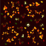 Background pattern autumn mushrooms foliage rowan.  Stock Images
