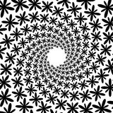 Background, pattern, black and white spiral pattern. Round centered Halftone illustration. Flower, petal, petals, movement Royalty Free Stock Image