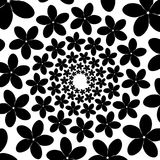 Background, pattern, black and white spiral pattern. Round centered Halftone illustration. Flower, petals, holiday, woman Royalty Free Stock Photography