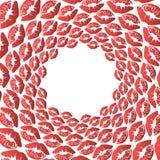 Background, pattern, black and white spiral pattern. Round centered Halftone illustration. Lips, kiss, red, lipstick royalty free illustration