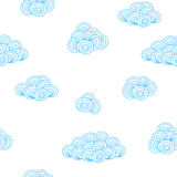 Background pattern with blue contour clouds Royalty Free Stock Images