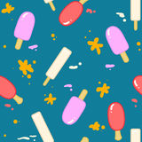 Background pattern with cartoon ice cream Royalty Free Stock Photos