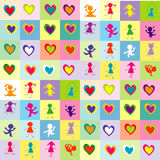 Background pattern with children silhouettes and hearts Royalty Free Stock Images