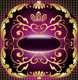 Background with pattern and crown of gold and precious stones Stock Image