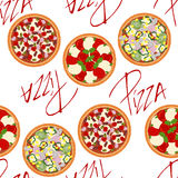 Background pattern with different types of pizzas Stock Photos