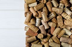 Background pattern of different wine bottle corks, winery texture, food concept and top view stock photography