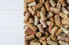 Background pattern of different wine bottle corks, winery texture, food concept and top view stock image