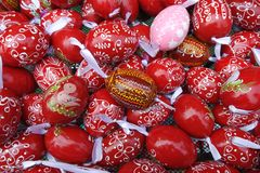Red and Pink Pattern Easter Eggs Background stock images