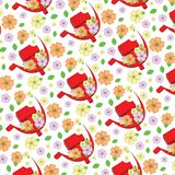 Background with pattern `The first of may`. White background with pattern `The first of may` red hammer and sickle, yellow, orange and purple flowers Stock Photos