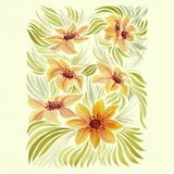 Dahlia is a flower and a bud. Decorative composition of plant elements. Background pattern - floral motifs. Wallpaper. Use printed. Background pattern - floral Royalty Free Stock Images