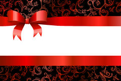 Background pattern flowers red black with bow Royalty Free Stock Image