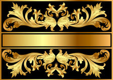 Background pattern frame from gild on black Stock Photo