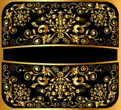 Background pattern gold on black Stock Photos