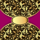 Background with a pattern of gold and laced border Royalty Free Stock Photography