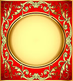 Background pattern gold on red background Stock Photos