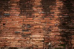 Background pattern of horizontal old brick walls. Background pattern of horizontal old orange brown brick walls stock photo