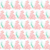 Background pattern with many repeating corals, seaweed and bubbles Royalty Free Stock Photos