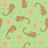Background pattern marine world in a gentle light color Stock Images