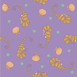 Background pattern marine world in a gentle light color.  Royalty Free Stock Image