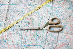 Background with pattern, measuring tape and scisso Stock Photography