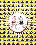 Background pattern men fight yellow. Outline drawing of two men in positions of fighters are in the ring in a white circle against a background pattern of black Stock Photo