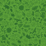 Background pattern with nature forest theme. Background pattern with animals, trees, insects, birds, plants and mushrooms Stock Photos