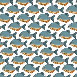 Piranha fish vector pattern background Royalty Free Stock Photos
